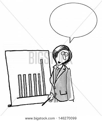 INSERT YOUR OWN TEXT.  Business illustration of businesswoman presenting information in a meeting and standing beside a bar chart.