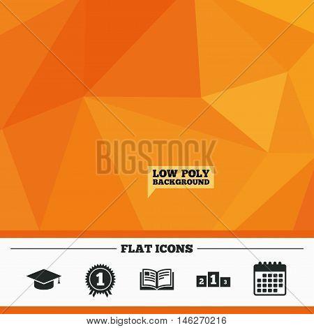 Triangular low poly orange background. Graduation icons. Graduation student cap sign. Education book symbol. First place award. Winners podium. Calendar flat icon. Vector