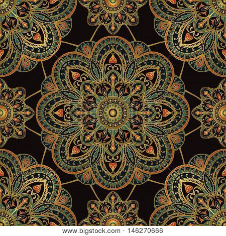 Abstract dark ornament of mandalas on a black background. Vector seamless oriental pattern. Template for shawl textile carpet drapery.
