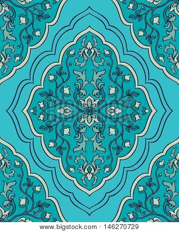 Seamless vector blue background with damask.Template for fabric wallpaper textiles bedcover carpet.