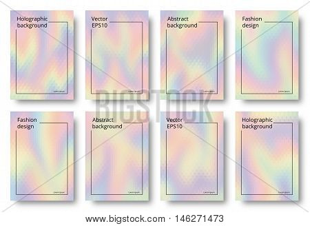 Hologram art. Holographic wallpaper. Rainbow design. Multicolor illustration. Polychromatic decoration. Spectrum background. Colorful abstract gradient. Vector.