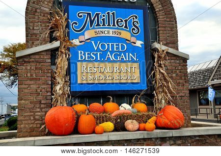 Ronks Pennsylvania - October 14 2015: Autumnal display with pumpkins and gourds at renowned local Miller's Restaurant & Smorgasbord on Route 132