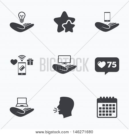 Helping hands icons. Intellectual property insurance symbol. Smartphone, TV monitor and pc notebook sign. Device protection. Flat talking head, calendar icons. Stars, like counter icons. Vector