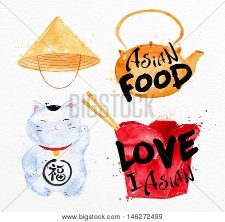 Asia symbols asia hat asia teapot ping pong box lucky cat drawing with drops and splash on watercolor paper background