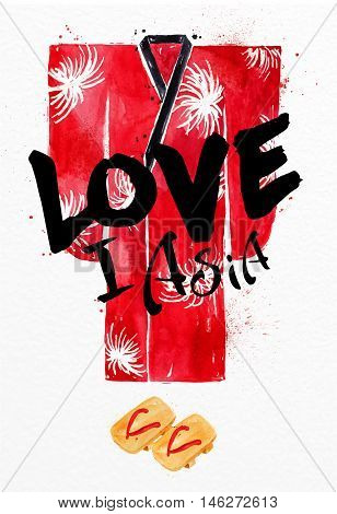 Poster red kimono lettering I love asia drawing with drops and splash on watercolor paper background