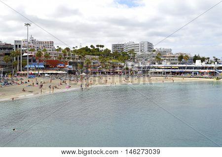 Torviscas beach Tenerife Canary Islands Spain Europe - June 15 2016 : Torviscas a coastal town in Costa Adeje Tenerife