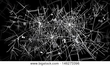 Halloween web background 323-Bk. Eau-forte black-and-white decorative texture vector illustration.