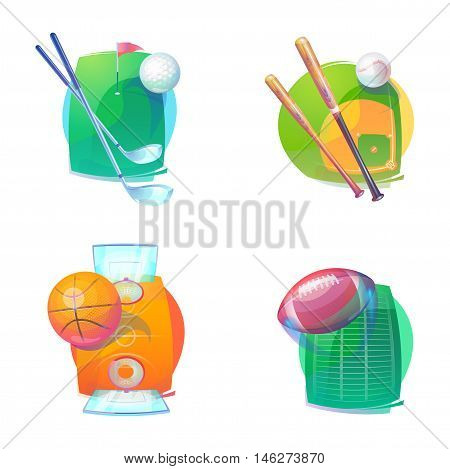 Basketball and baseball, golf, rugby accessories icons or logo. Basketball and baseball, golf and rugby accessories. eps 10