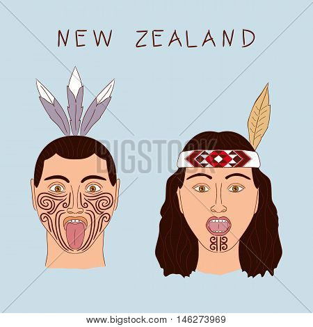 New Zealand Maori tribe a man and a woman. Traditional tattoo ta moko and hats feathers. Militant grmasy on their faces. Vector isolated cartoon illustration.