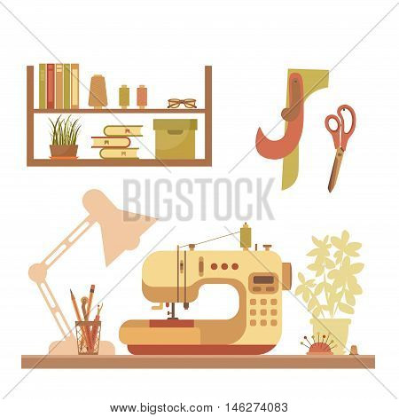 Vector colorful sewing workshop concept. Flat sewing infographic design elements: scissor, machine, pin, iron. Tailoring industry concept of dressmaking tools icons. Sewing workshop illustration.