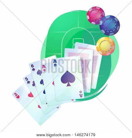 Texas holdem poker game cards and chips over casino or pub table. Aces up for omaha hi-low, stud and razz, straight or community draw variations. Good for money betting and gambling addiction theme