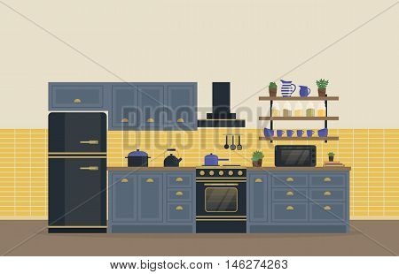 Kitchen room for food cooking interior with stove or oven, gas range and refrigerator or fridge, spice rack with jars and jug, spatula and whole spoon, kettle or teapot and exhaust hood, pan