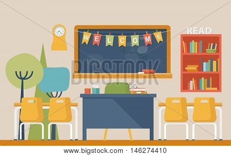 Literature classroom interior in school or college with welcome letters on flags over blackboard with chalk, desks and chairs, clock and books on shelf. study and learning, pedagogy and scholarship