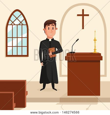 Christian catholic priest preaching at church. Holy father in robe or pastor with collar, pope with bible and clergyman at liturgy, spiritual missionary. Can be used for religion or church theme