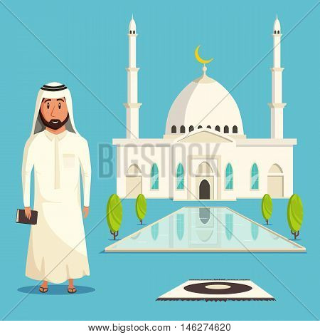 Taj mahal with garden and indian muslim with coran. Asian religious architecture monument traditional landmarks with domes. Can be used for hindu and faith, allah and muslim culture theme