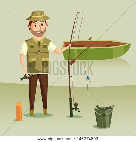 Fisherman with catch of crucian in bucket, rod or spinning with reel and angle or hook, float or bobber. Fishing boat with paddle or oar on river or lake. Image of active leisure or hobby, relaxation