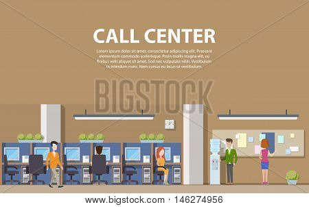 Call center interior with consultants for social assistance and computers. Man and woman answering customer question calls for help in office. Indoor view on working operators on helpline.