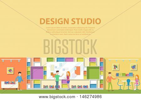 Creative graphic studio design interior. Creative artist corporate advertising agency making web paints or advertisements. Workplace or workspace with man and woman talking about concept ideas.