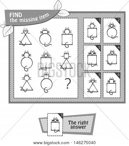 visual game coloring book for children. Task: find the missing item. black and white vector illustration