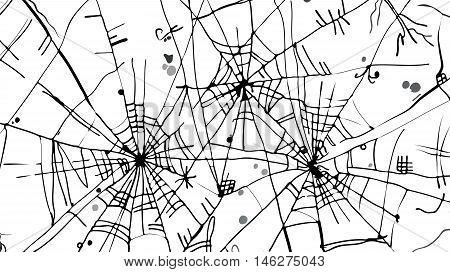 Halloween web background 323-Wt. Eau-forte black-and-white decorative texture vector illustration.