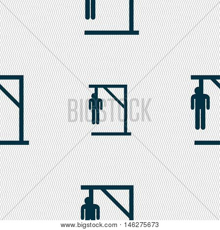 Suicide Concept Icon Sign. Seamless Pattern With Geometric Texture. Vector
