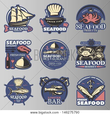 Seafood emblem set in color with highest quality seafood products seafood restaurant fresh fish lobster bar descriptions vector illustration