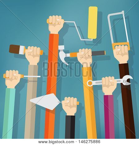 Many hands holds up instruments and tools on the blue background. Maintenance concept.