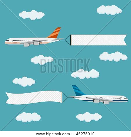 Flying planes with banners template for text vector illustration.