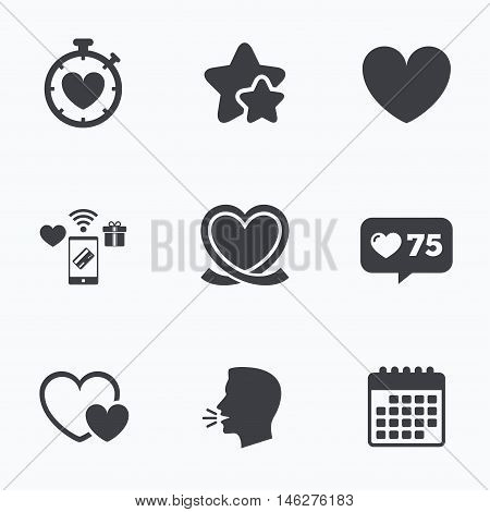 Heart ribbon icon. Timer stopwatch symbol. Love and Heartbeat palpitation signs. Flat talking head, calendar icons. Stars, like counter icons. Vector
