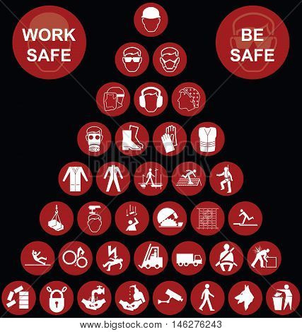Red construction manufacturing and engineering health and safety related pyramid icon collection isolated on black background with work safe message
