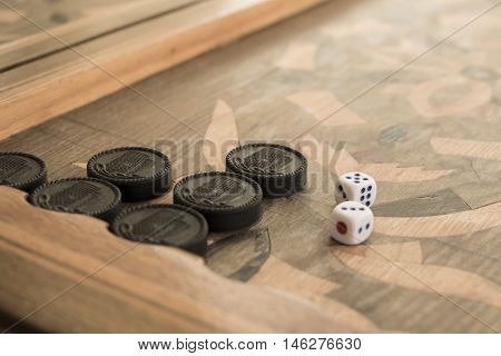 Board for a game of backgammon with two dice