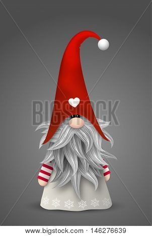 Nisser in Norway and Denmark, Tomtar in Sweden or Tonttu in Finnish, Scandinavian folklore traditional elves, nordic christmas motive, vector illustration, eps 10 with transparency