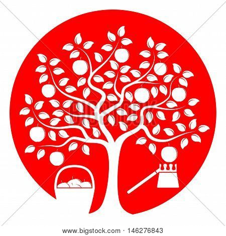 vector apple tree with basket of apples and fruit picker isolated on red round
