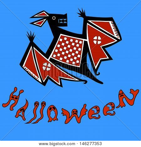Halloween (All hallows' day) - autumn holiday in Britain, Scotland and Ireland.  Bat. The letters in the form of ghosts and evil beings.