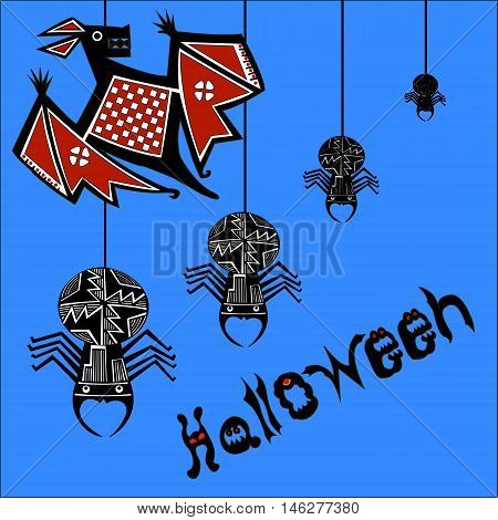 Halloween (All hallows' day) - autumn holiday in Britain, Scotland and Ireland.  Bat and spiders. The letters in the form of ghosts and evil beings.