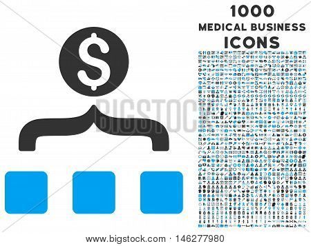Money Aggregator vector bicolor icon with 1000 medical business icons. Set style is flat pictograms blue and gray colors white background.