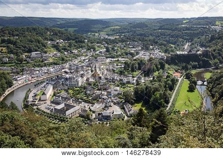 Aerial view Bouillon along river Semois with medieval castle in Belgian Ardennes
