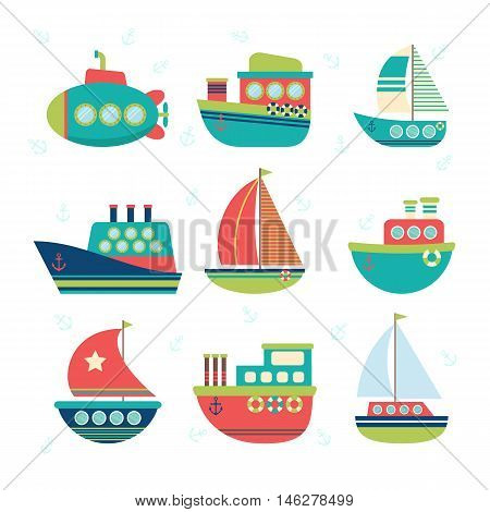 Different Kind Of Boats. Set Of Sea Transport. Fishing Boats, Yachts And Sailboats