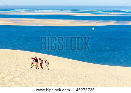 Aquitaine, France - April 5, 2011: Group Of Tourists Walking On Dune Of Pyla (pilat)