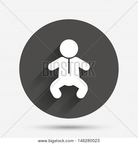 Baby infant sign icon. Toddler boy in pajamas or crawlers body symbol. Child WC toilet. Circle flat button with shadow. Vector