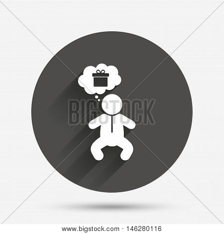 Baby infant think about gift box sign icon. Toddler boy in pajamas or crawlers body symbol. Circle flat button with shadow. Vector