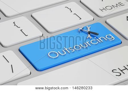 outsourcing concept on white keyboard 3D rendering