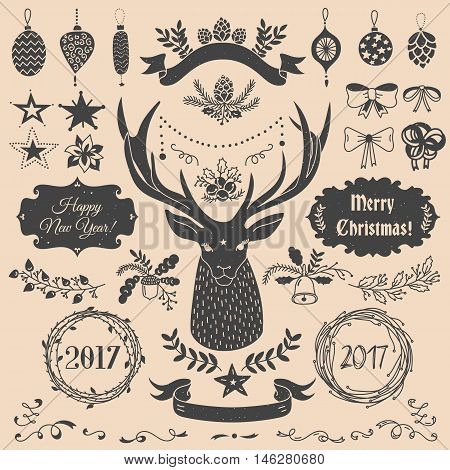 Vector Christmas and New Year set of badges, ribbons, ornaments, icons, frames, labels and design elements for greeting cards, gift tags, invitations. Black and beige, vintage style
