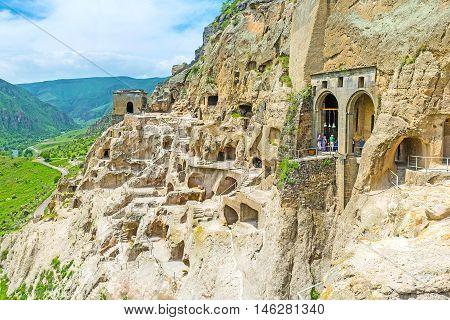 The rocky of Erusheti Mount is indented with monastery's caves Vardzia Samtskhe-Javakheti Region Georgia.