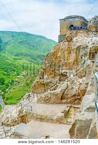 Visiting of Vardzia monastic site is the nice opportunity to walk among the old caves on the rocky Erusheti mountain discover medieval church and enjoy the views Samtskhe-Javakheti Region Georgia.