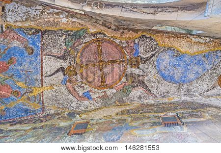 VARDZIA GEORGIA - MAY 27 2016: The cave in front of Dormition church covered by colorfull frescoes on May 27 in Vardzia.