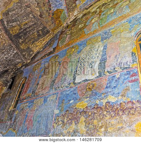 VARDZIA GEORGIA - MAY 27 2016: The Dormition Church is famous for the preserved medieval frescoes covering the walls of the cave on May 27 in Vardzia.