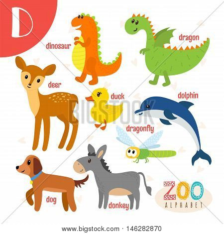 Letter D. Cute Animals. Funny Cartoon Animals In Vector. Abc Book