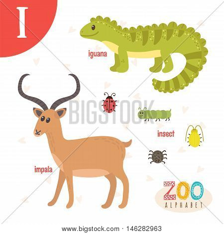 Letter I. Cute Animals. Funny Cartoon Animals In Vector. Abc Book