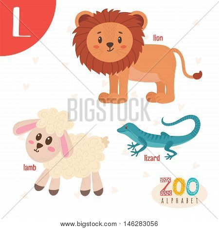 Letter L. Cute Animals. Funny Cartoon Animals In Vector. Abc Book